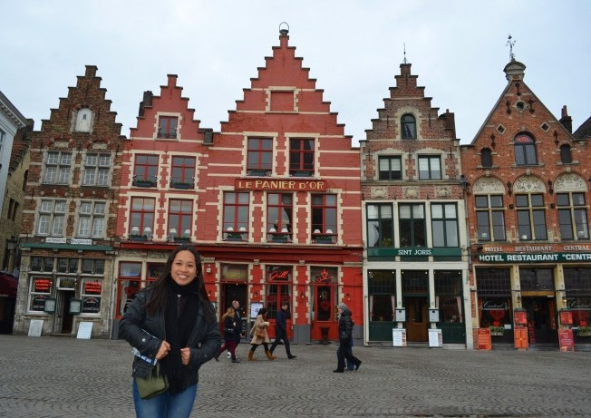 The beautiful marketplace in Bruges.