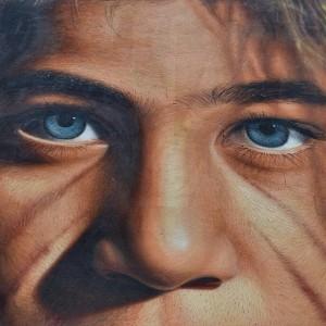 Detail of a street portrait by Italian street artist Jorithellip