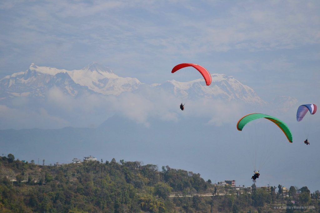 solitary wanderer - paragliding pokhara nepal
