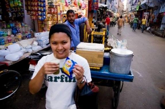 Lara happy in India.