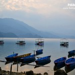 The beautiful Phewa Lake in Pokhara, Nepal.