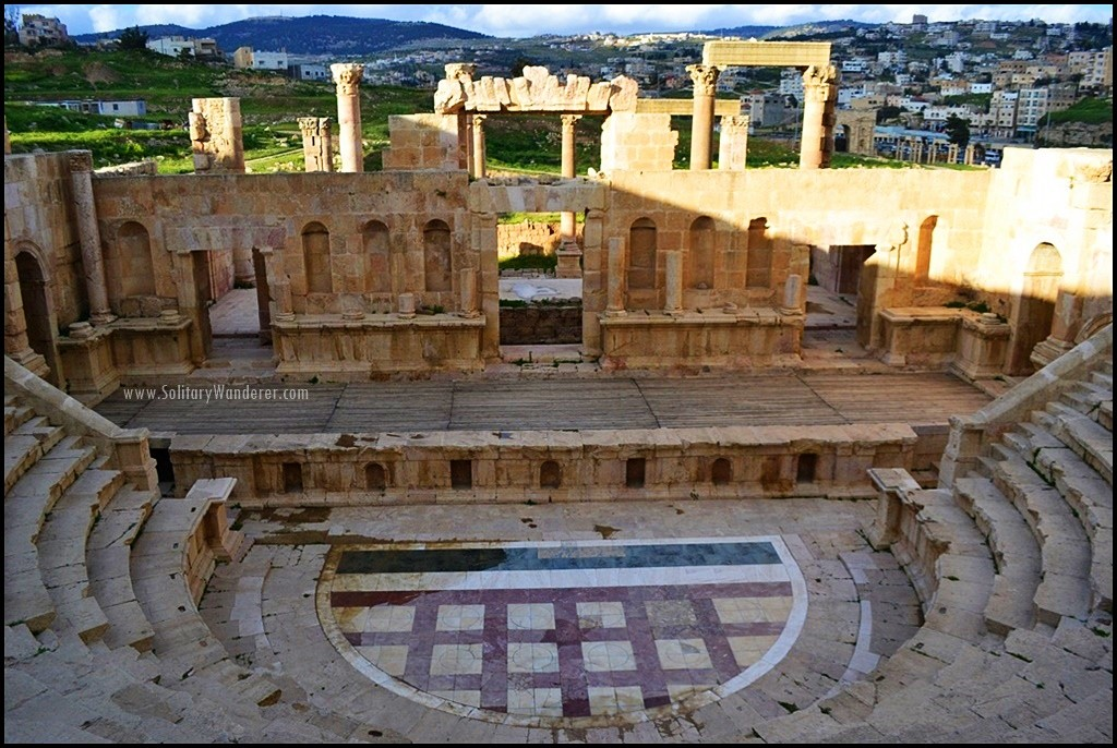 north theatre roman ruins in jerash