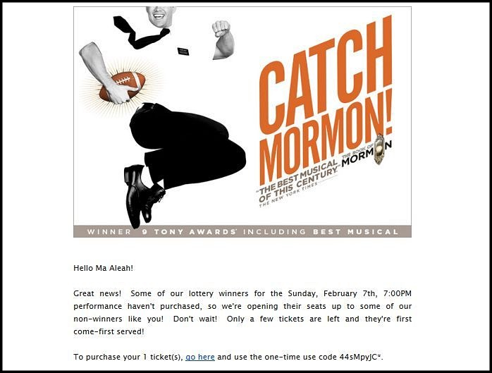 Book of Mormon lottery