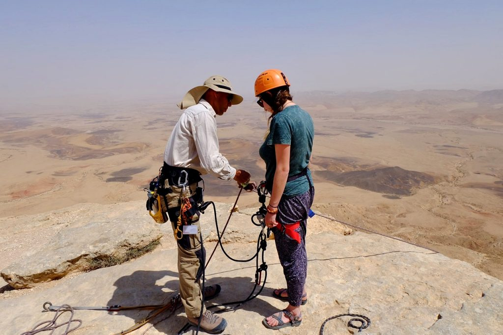 rappelling in israel -- checking harness