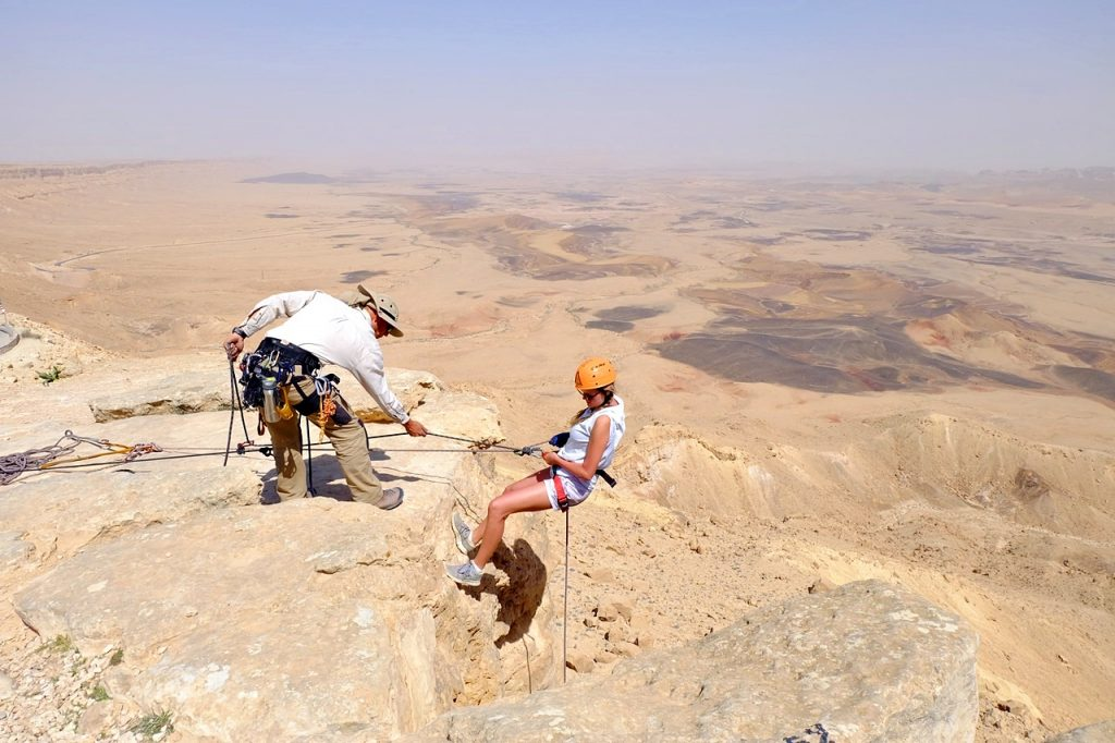 rappelling in israel -- going down the crater