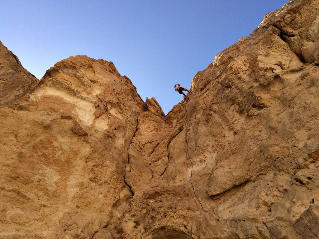 rappelling in israel -- view from below