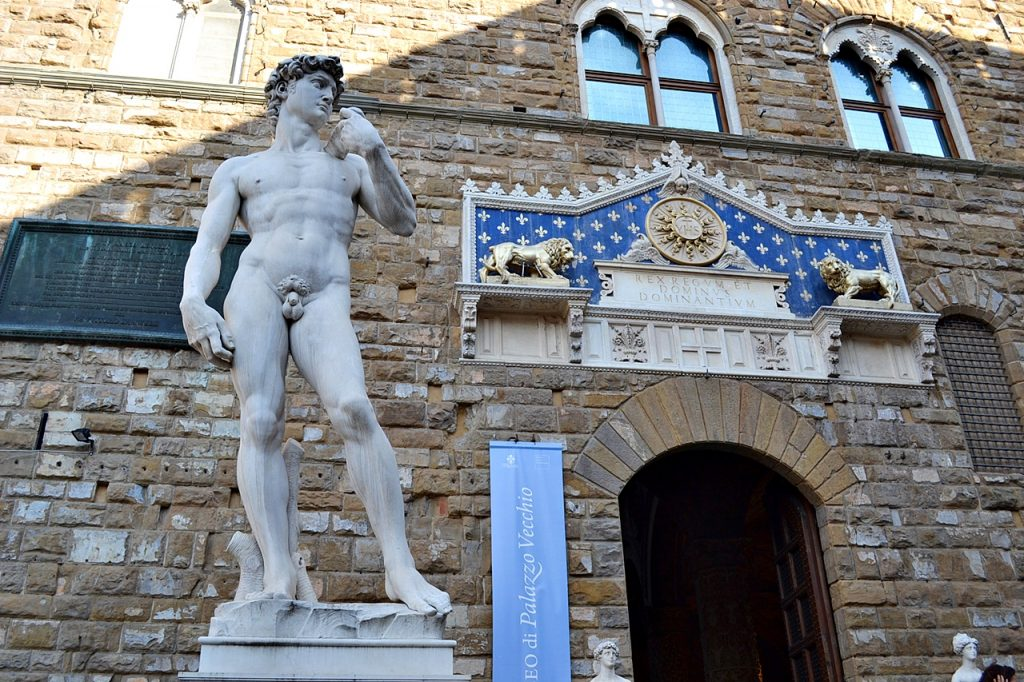Statue of David in Palazzo Vecchio Florence Italy