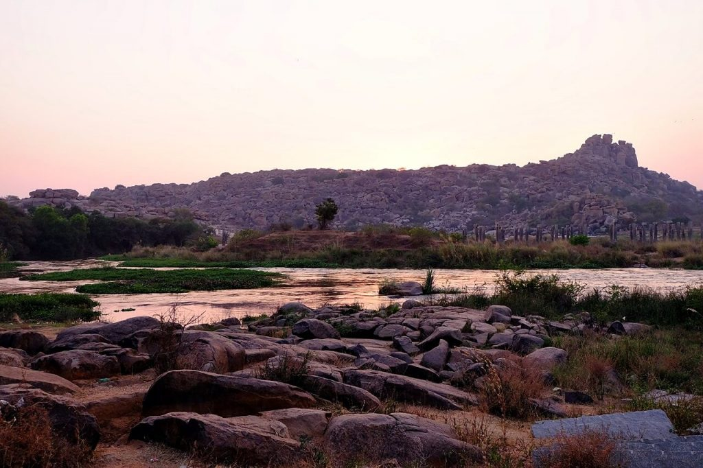 Sunset Tungabhadra River Hampi