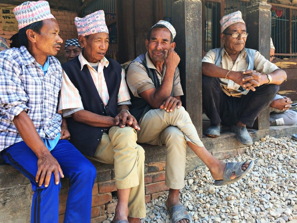 local men in bhaktapur - solitary wanderer