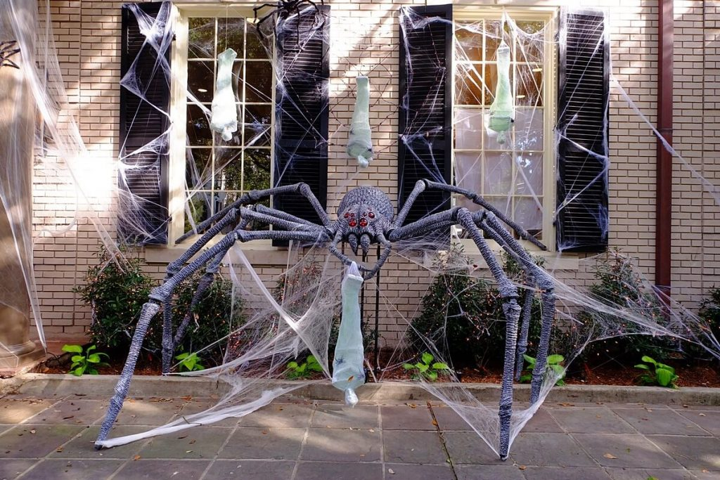 Mansions are decorated for Halloween in New Orleans