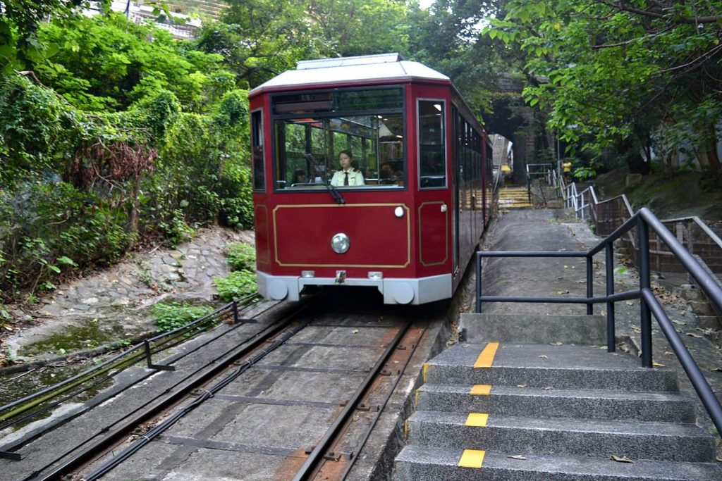 hiking to victoria peak hong kong -- tram