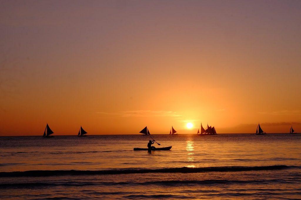 Boracay Island Sunset -- Solitary Wanderer