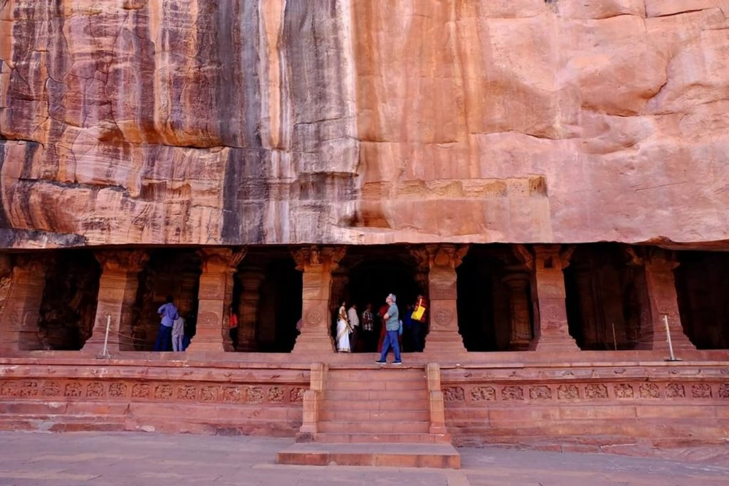 Badami Cave Temples -- entrance to cave 3