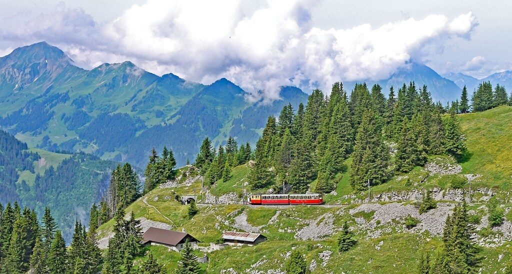 The beautiful train ride in Interlaken.