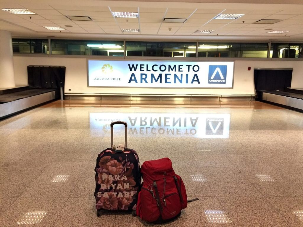 arriving in yerevan armenia airport